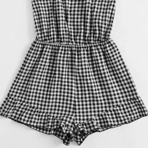 SHEIN Other - Plus Halterneck Tie Gingham Ruffle Trim Romper